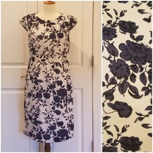 Lands End Velour Blue Floral Dress ##